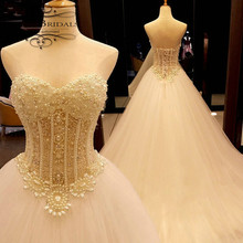 2017 robe de mariage Strapless Sweetheart Pearls Beading Patterns See Through Sexy Luxury Real Photo Wedding Dress Turkey