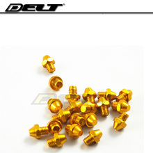 10/40/100 pcs M4*4mm cycling bike bicycle Pedal screws Skid-proof Platform Cleats bolts nut Alloy gold wholesale(China)