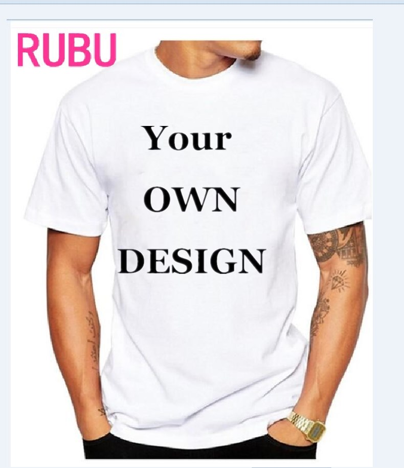 2017  Your OWN Design Brand Logo/Picture White Custom Men and women t-shirt Plus Size T Shirt Men Clothing(China)