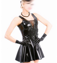 Summer dress Black latex dress with front band party wear fetish rubber costumes slim tight vestidos plus size hot sale