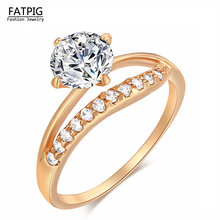 Fahion Design Italy Zircon Gold Color Luxury CZ Crystal Rings Luxury Rings for Lady Women Weding Engagement  Rings