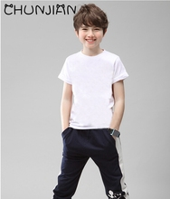 CHUNJIAN children plain tshirts white t shirt for painting kids cotton summer short sleeve t-shirts boy girl clothes for 2-14Y