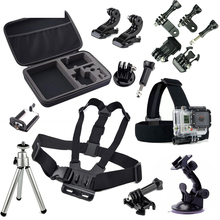 Action Camera Travel Accessories set Go pro Head Chest Belt Strap Mini Tripod Mount Kit for Gopro Hero 2 3 4 3+ SJCAM Xiaomi Yi