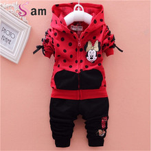 baby girls clothing sets cartoon mouse 2016 winter children's wear cotton casual tracksuits kids clothes sports suit hot