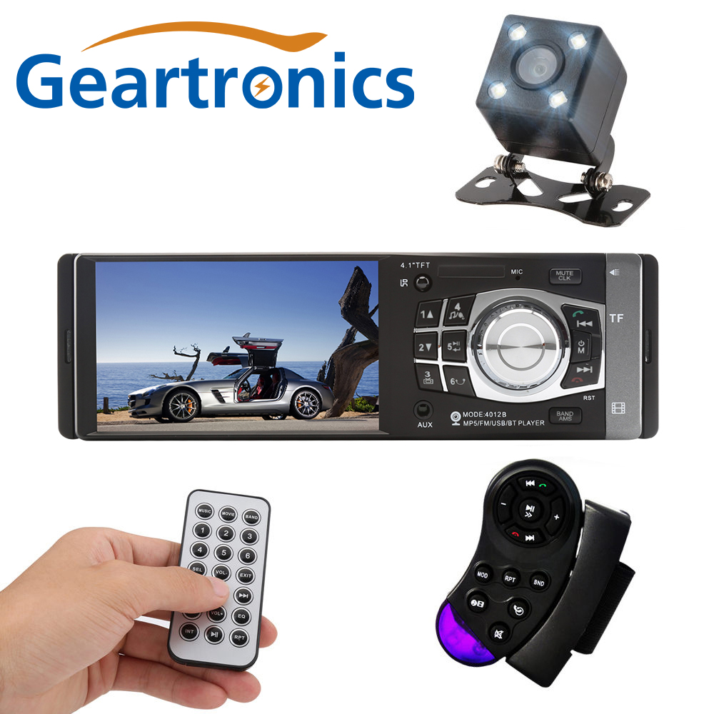 4012B 4.1 inch 1 Din Car Radio Auto Audio Stereo FM Bluetooth 2.0 Support Rear View Camera USB Steering Wheel Remote Control<br>