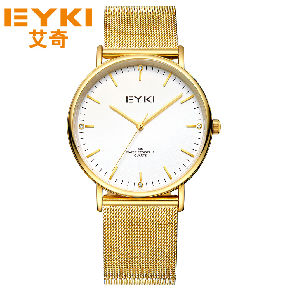 EYKI Men Quartz Stainless Stell Watches Top Brand Diamond Gold Watches Mesh Strap Band Wrostwatches Casual Sport Clocks<br>