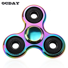 OCDAY New Toy Hand Spinner Colorful Rainbow Metal Tri Fidget Spinner Anti Stress Relief Toys Gift Man Finger Toys Spiner Tops