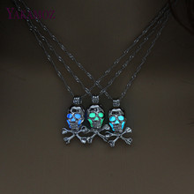 Punk Style Skull Pendant Necklace Luminous Jewelry Silver Color Chain Glow in the Dark Choker Statement Necklace For Women Gift(China)