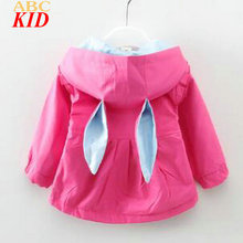 Spring New Arrival Girls Coats Cartoon Bunny Trench Outfits For Baby Hot Pink Hooded Ears Jackets Princess Jackets Casaco BTP005