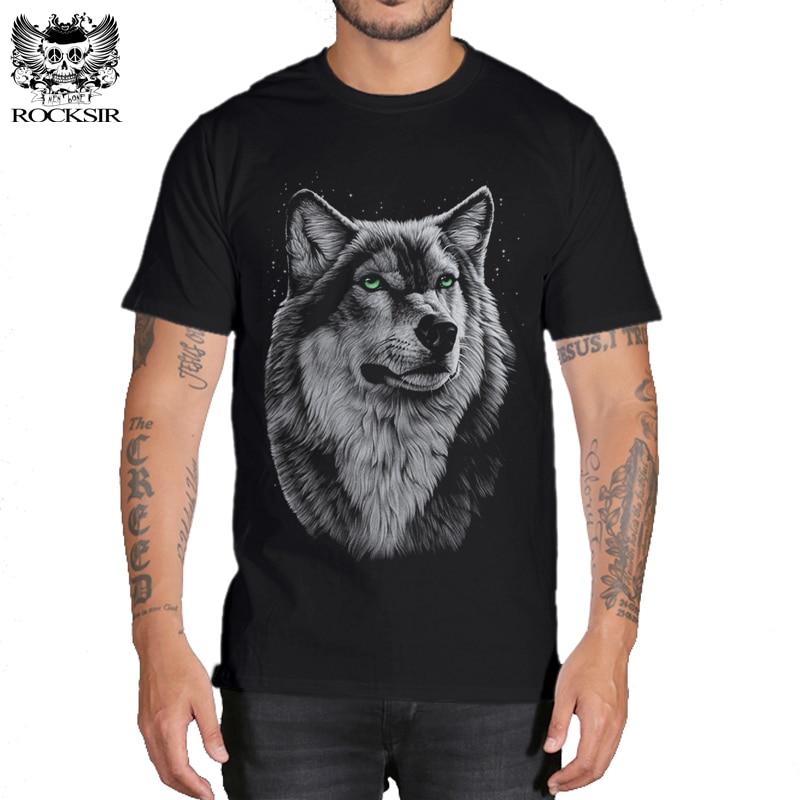 Rocksir 3d wolf t shirt mens Brand 3D Indians wolf Print t shirts Cotton wolves Men t-shirt Casual Man Tees Mens Tops 6