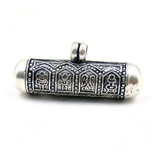 T9018 Tibetan 925 sterling silver Prayer box Pendants Tibet Lovely Cylinder Amulets Lockets Eight Auspicious GAU