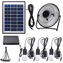 NEW Solar Power Panel Charging DC USB LED Light Lamp Fan Kit For Home Outdoor Camping(China)