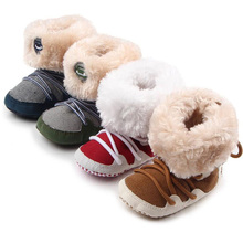Fashion Winter Warm Baby Boots Soft Fleece Infant Snow Boots Lace Up Baby Shoes