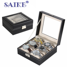SAIKE Watch Box Top Quality PU Leather Watches Box 6 Grids Wrist Watch Pouches Collection Case Watch Display Storage Box Holder