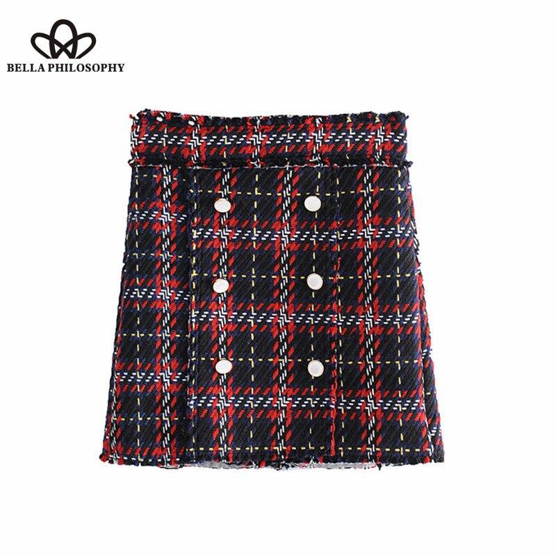 Wonder 2018 new Vintage Buttons Plaid Mini Skirt A Line High Waist Back Zipper Streetwear Ladies Skirts Casual Faldas Mujer
