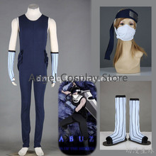 Free DHL Shipping  Naruto Cosplay Naruto Costume Momochi Zabuza Cosplay Blue Mens Full Set NEW