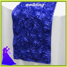 Good quality&wholesale price!20pcs spandex rosette satin royal blue table runner 30*275cm for wedding banquet free shipping