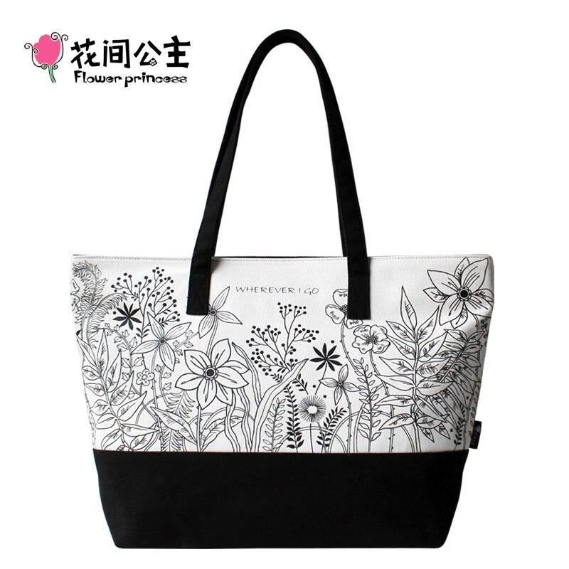Flower Princess Brand Women Canvas Black Tote Bag Ladies Floral Fashion Handbag Shoulder Bag bolso negro mujer torby damskie<br><br>Aliexpress
