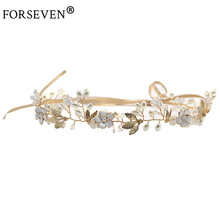 Buy FORSEVEN High Gold Crystal Pearl Headband Bride Hair Accessories Flower Head Piece Handmade Wedding Hair Jewelry for $7.50 in AliExpress store
