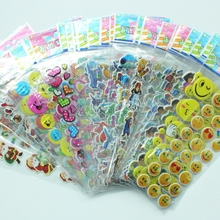 Random 10 Sheets Variety of 3D bubble Stickers Kids boys girls Foam stickers Cute Puffy Children toys Stickers(China)