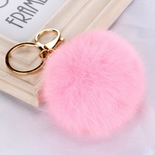 8cm Rabbit Fur Ball Key Chain Gold Keyring Hooks Luxury Gifts Car Handbag Bags Cellphone Keychain Accessory Decorations S1667