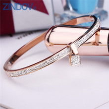 2017 New Fashion Stainless Steel Bangles Bracelet For Women Padlock Gold/Rose Gold/Silver Color Key Charm Famous Brand Jewelry