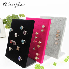 2017 New Fashion Ring Display Frame Tray Insert 50 Slots Jewelry Shop Counter Showcase Rings Storage Rack Organizer Wood Support(China)