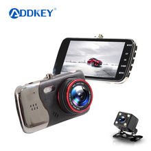 ADDKEY Original 4.0 Inch IPS Screen Car DVR camera dual lens rearview Camera night vision Full HD 1080P Video recorder Dash Cam(China)