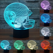 Touch sensor lamp 3D Light LED Jacksonville Jaguars Football Helmet Sport Cap LED Night Light Table Lamp As Child Gift IY803678(China)