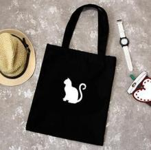 Canvas shopping bag cute cat supermarket trolley bags large capacity handbag reusable tote bag Simple eco bag women handbags