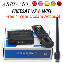 Freesat V7 HD satellite internet TV receiver + USB wifi + 1 Year CCcams Clines dvb-s2 Decoder Newcam pk Freesat V8