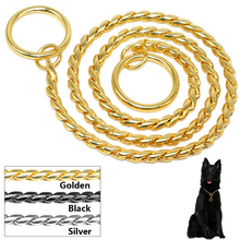 Metal Dog Slip Collar Snake Chain Dog Training Choke Collar Strong Chrome or Gold 3mm 4mm 5mm(China)