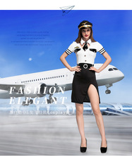 Halloween costume Service Stewardess sexy lingerie Costume Fancy Dress Outfit Mile High Airline Pilot Costume(China)