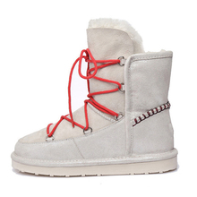 [DaiYun] 2017 Winter Now Pattern Warm Boots Flat Bottom Thick Fabric Vamp Lace-up Round Toe Women Fahsion Snow Shoes B77801(China)