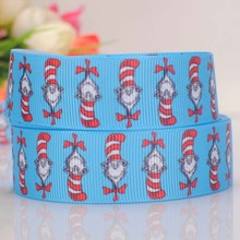"5yards 7/8 "" 22 mm the cat in the hat pattern printed cartoon DIY handmade hairbow grosgrain ribbon free shipping(China)"