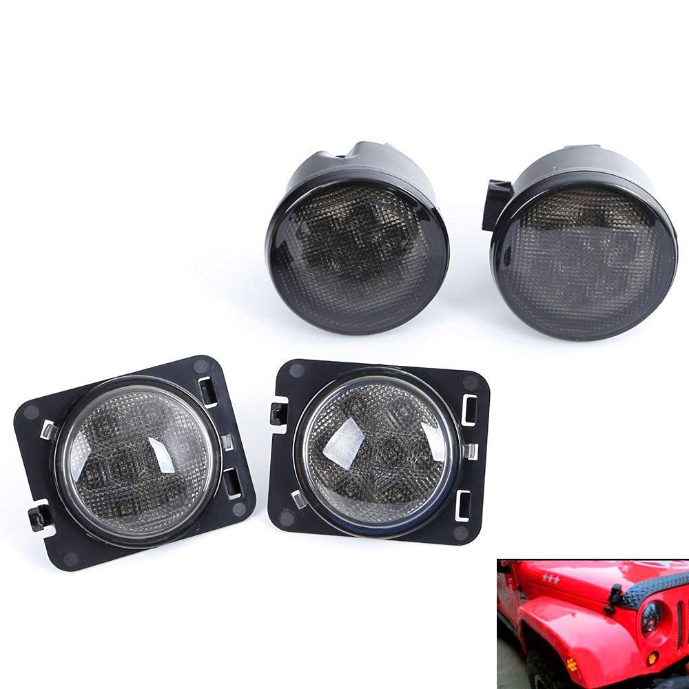 Fashion Smoked LED Front Turn Signal Light and Fender Flare Side Marker Lights for Jeep Wrangler JK 2007-2015 L029<br>