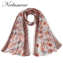 Neelamvar new fashion scarves shawls flower print voile cotton scarf women autumn and winter warm echarpe wraps from india(China)
