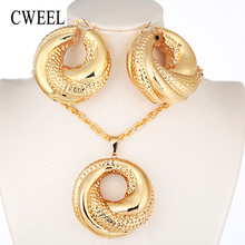 CWEEL Nigerian Beads Jewelry Set Bridesmaid African Wedding Jewelry Women Copper Dubai Jewelry Sets Gold Color Costume Jewellery(China)