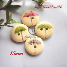 100pcs 15mm Umbrella pattern wood buttons for kids clothing accessories craft /scrapbooking/ sewing accessories wholesale