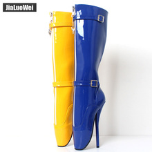 Buy jialuowei 2018 New Arrive 18CM Extreme High heel Sexy Fetish Goth Ballet Boots PU Patent Zip Buckle Strap Knee-high long boots