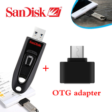 100% Original Genuine Sandisk CZ48 usb 3.0 flash drive 32gb 16gb 64gb mini Pen Drives + OTG adapter for Android Smartphone