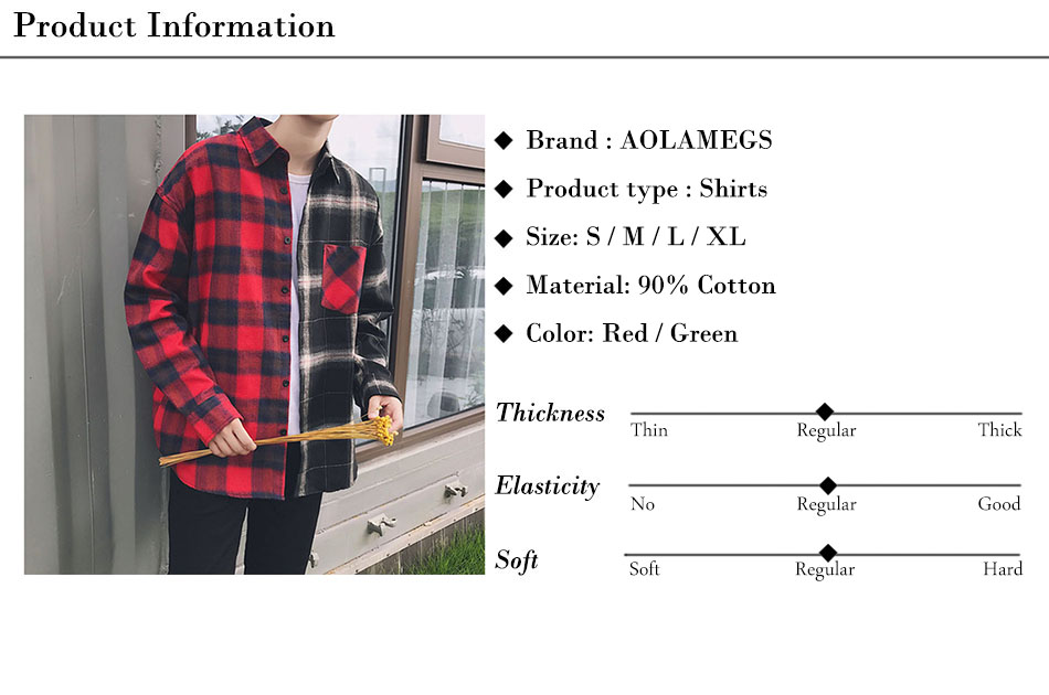 Aolamegs Shirts Men Classic Patchwork Plaid Male Shirts Thin Cotton Full Sleeve Shirt Fashion Casual Slim College Style Autumn (19)