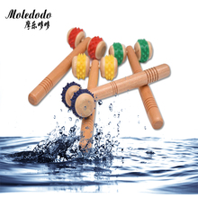 Moledodo 1PC New massage roller Solid wood back massage stick Wooden lunar rover Hand push leg neck waist massage wheel 5%J11
