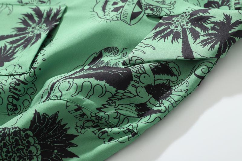 Graffiti Flamingo Palm Tree Pineapple Skull Print Shirts 6