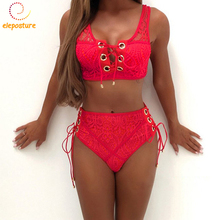 Buy Lace Bikini Swimsuit Swimwear Women Push Bikini Set Bandage Bathing Suit Beachwear Bikinis 2018 Sexy Swimming Suit Women