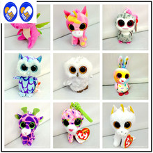 A Toy A Dream 1pcs 10cm Pendant Ty Beanie Boos Plush Christmas Toy Doll Owl Rabbit Unicorn Dinosaur Sika Deer Kids Toys