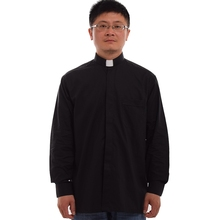Black Priest Pastor Clergy Shirt with Clerical Collar(China)