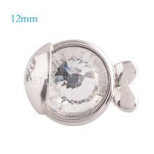 10pcs/lot New 12mm fish snaps button with clear rhinestone snap jewelry fit snap bracelets bangles necklace KS5131-S