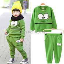 2014 Baby Kids Suits Cartoon Smiling Face Cotton Outfit Twinset Harem Pant Tracksuit dropshipping