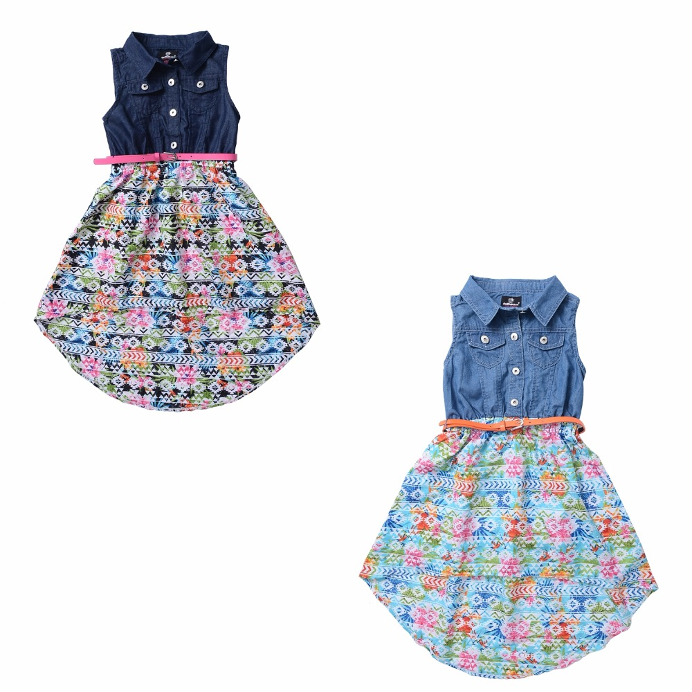 Baby Girls Cotton Denim Dress Infant Print Chiffon...